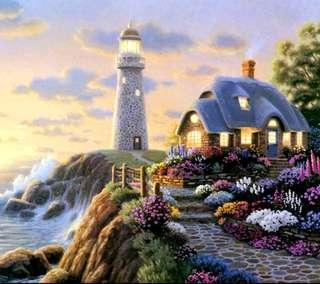5d DIY DIAMOND ART Lighthouse & Cottage