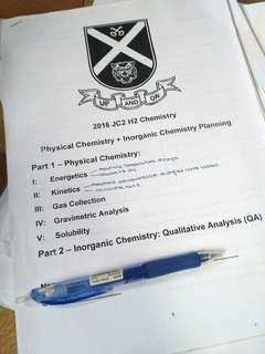 Top SAJC H2 Chemistry Student Planning Question Lecture Notes
