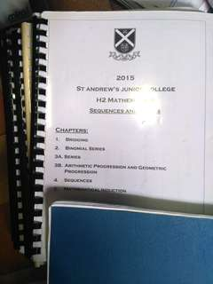 SAJC H2 Mathematics Lecture Notes