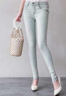 🚚 復古顯瘦刷白刷舊牛仔褲窄管褲牛仔長褲