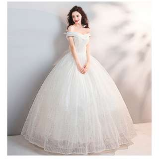 pre order white off shoulder glitter prom bridesmaid wedding bridal gown dress  RB0691
