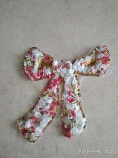 Sew on sequins patch - Floral fabric ribbon bow