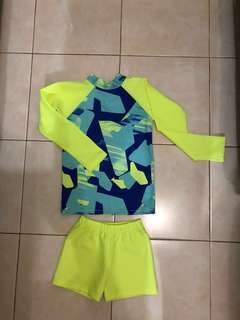 Rash guard for 5-7yo depends. No flaw and like new condition