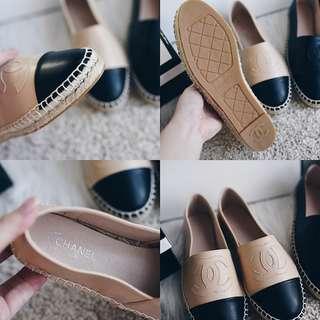 Chanel Espadrilles En Cuir Leather