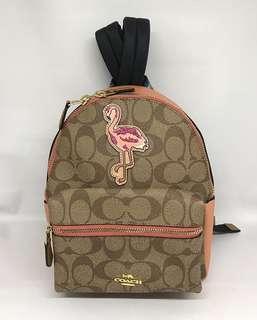 Coach Mini Charlie Backpack Flamingo sz 20x24x