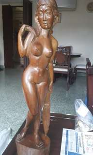 "ANTIQUE  18TH CENTURY TO  1910s NUDE WOODEN SCUPTURE  MASTERPIECE 24"" TALL (AUCTION)"