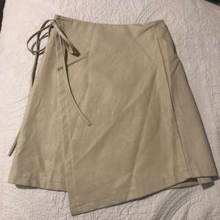 Nude tie up skirt