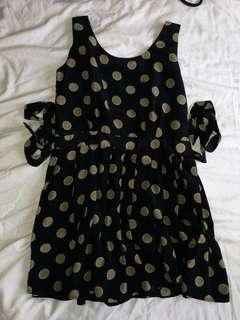 Navy Blue Silk Polkadots Dress