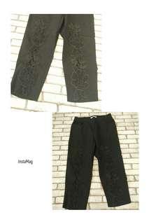 森女日系 超美 花朵 刺繡 鏤空造型 七分 內搭褲