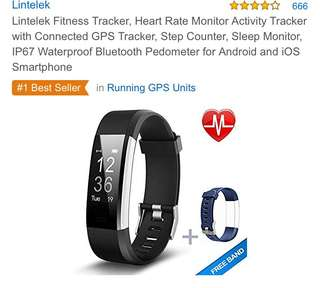364•Lintelek Fitness Tracker, Heart Rate Monitor Activity Tracker with Connected GPS Tracker, Step Counter, Sleep Monitor, IP67 Waterproof Bluetooth Pedometer for Android and iOS Smartphone