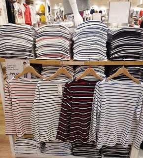 T-shirt Garis Boat Neck Lengan Panjang