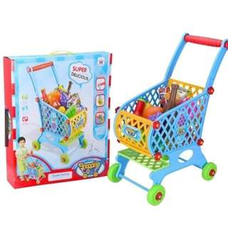Children Kids Shopping Cart Grocery Kids Trolley Play Toy Education Learning Walk Set