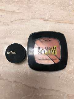 Inika mineral loose powder and L'Oréal blush sculpt