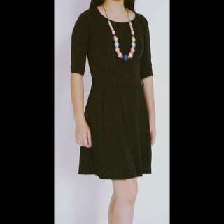 SALE...  (YD-1742) Dress Lgn 7/8, rok pleated , Black