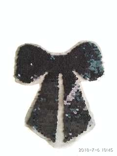Sew on sequins patch - Black ribbon bow