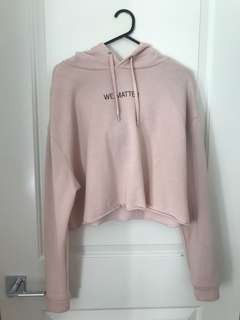 Blush pink jumper cropped