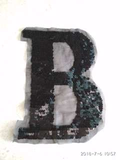 Sew on sequins patch - Black Letter B