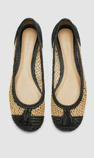 Zara Braided Raffia Straw Flats Shoes