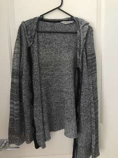 Grey hooded knit
