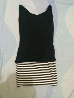 Black Stripe Bodycon Peplum dress