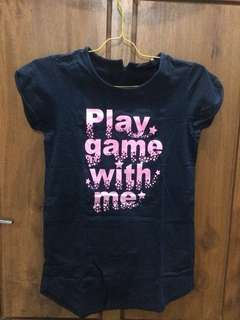 Giordano Graphic T-Shirt Navy Blue Play Game With Me with Zipper