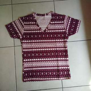 Baru!!!  Blouse tribal maroon bahan wafel