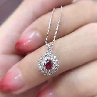 天然紅寶鑽石項鏈 紅寶石約20份 鑽石35份