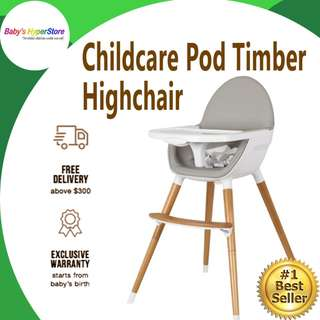 Childcare Pod Timber Highchair - White/Grey