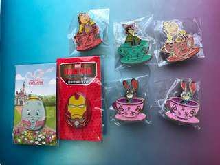 香港迪士尼襟章朱迪阿力小飛象鐵甲萬能俠鐘HK Disney pins nick Judy dumbo iron man clogsworth