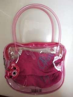 🚚 (全新)粉紅小熊置物袋內附小襪
