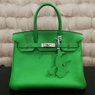 Hermes Birkin 30 Togo Leather in Bamboo with PHW Stamp R