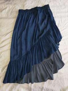 Blue Ruffles Long Skirt