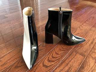 Brand new two tone pleather pvc heel boots