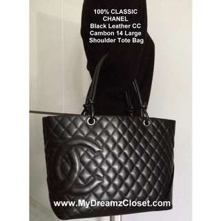 """100% CLASSIC CHANEL Black Leather CC Cambon 14"""" Large Shoulder Tote Bag"""