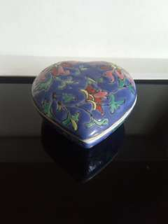 Vintage hand painted ceramic pin box