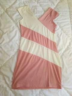 babypink white bodycon dress