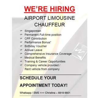 <July Available Jobs> Airport Limousine Chauffeurs x 5