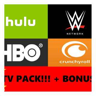 TV PACK! Hulu Crunchyroll HBO WWE + FREE BONUS [1 YEAR]