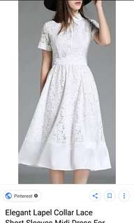 Looking for  XL COLLARED PLAIN LONG WHITE DRESS