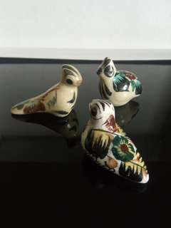Set of three miniature hand painted porcelain birds