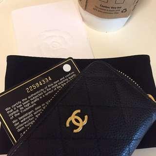 🚚 Chanel荔枝皮金釦拉鍊三格式零錢包卡包
