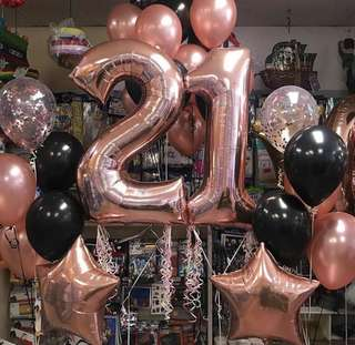 "INSTOCK '2' and '1' Rose Gold 32"" Balloons"