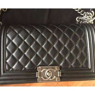Chanel Boy Old Medium Black Lambskin with RHW