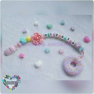 Handmade Customized Pacifier Clip with letter beads + Peach Donut teether