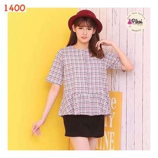 Baju kotak kotak / atasan wanita peplum / blouse kantor / kerja cewek / 1400