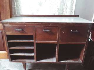 Vintage Wooden Table with 3 NOs Drawer & Shelf
