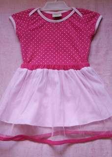 Pink Polkadots Baby Skirt and Shirt Terno