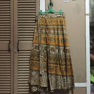 mustard yellow bohemian(boho) maxi wrap skirt