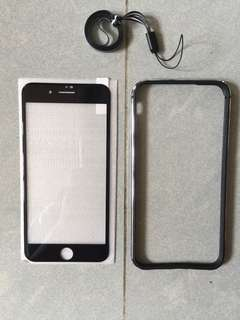 全新黑色超薄apple iPhone 8 Plus 手機金屬邊框bumper (連mon貼)