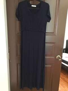 Dark blue maternity nursing dress
